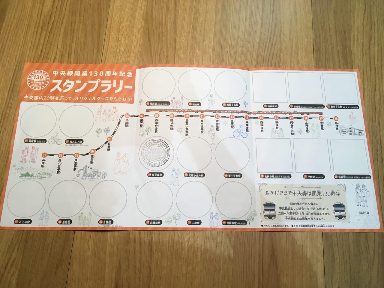 JR中央線線開業130周年記念スタンプラリー